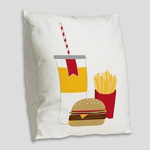 Fast Food Burlap Throw Pillow