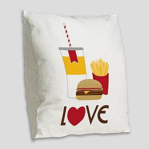 Love Fast Food Burlap Throw Pillow