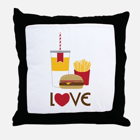 Love Fast Food Throw Pillow