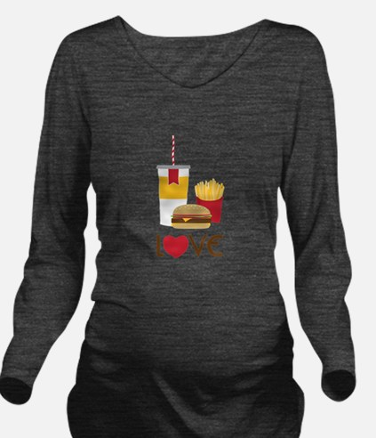 Love Fast Food Long Sleeve Maternity T-Shirt