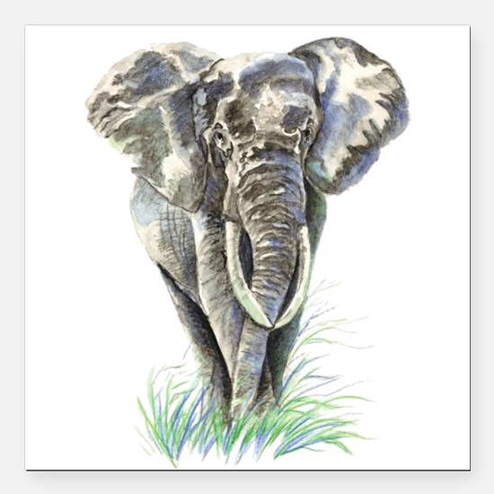 Watercolor Elephant Animal art Square Car Magnet 3