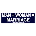 Man + Woman = Marriage Bumper Sticker