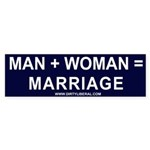 Man + Woman = Marriage Bumper Sticker