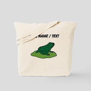 Custom Green Frog On Lilypad Tote Bag
