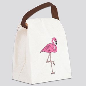 Flamingo On One Leg Canvas Lunch Bag
