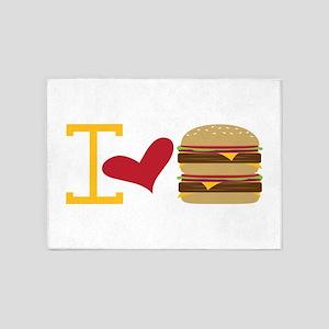 I Love Burger 5'x7'Area Rug