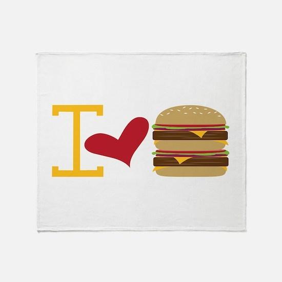 I Love Burger Throw Blanket