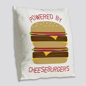 Powered By Burlap Throw Pillow