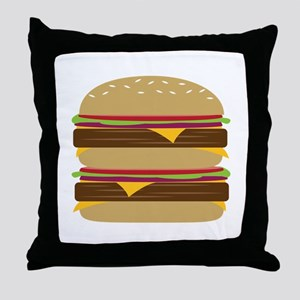Double Burger Throw Pillow