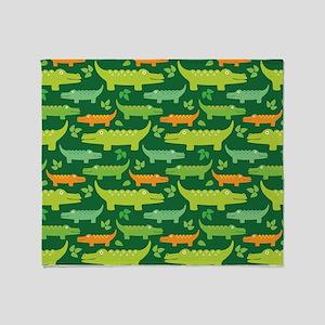 Crocodile Alligator Jungle Throw Blanket