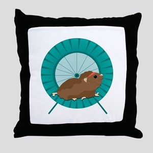 Hamster Treadmill Throw Pillow