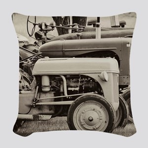 Old Farm Tractor Woven Throw Pillow