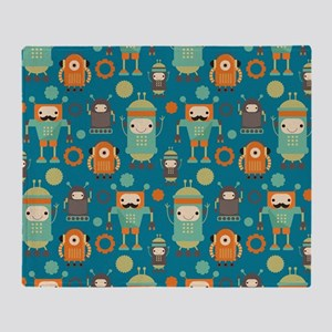 Robot Retro Pattern Throw Blanket