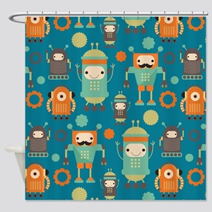 Robot Retro Pattern Shower Curtain