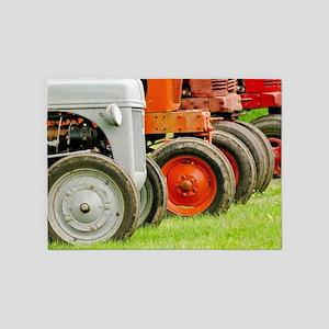 Old Farm Tractors  5'x7'Area Rug
