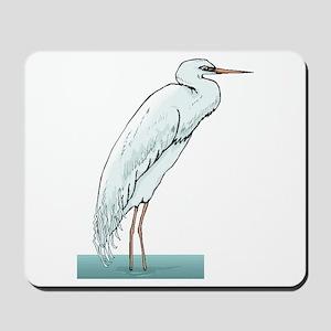 White Egret Mousepad