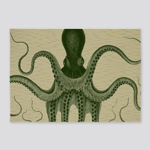 Vintage Octopus in green 5'x7'Area Rug
