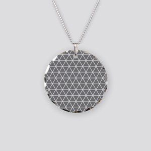 Gray White Triangle Geometrical Pattern Necklace