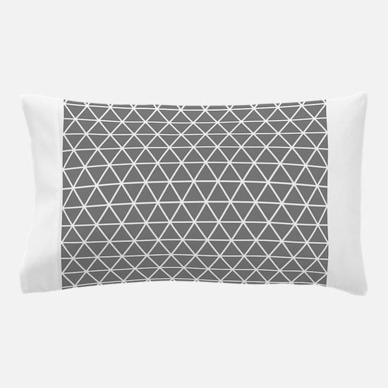 Gray White Triangle Geometrical Pattern Pillow Cas