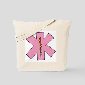 Pink Medical Emblem Caduceus Tote Bag