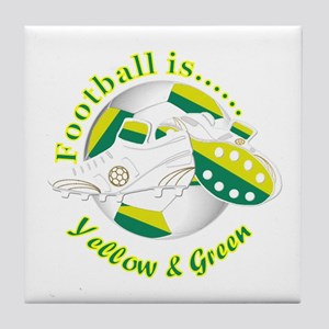Football Colors Yellow and Green Tile Coaster