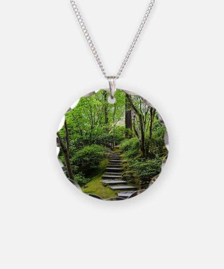 garden path Necklace Circle Charm