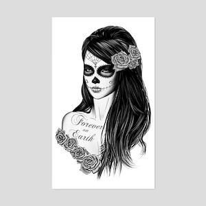 La Catrina - Day of Death b/w Sticker (Rectangle)