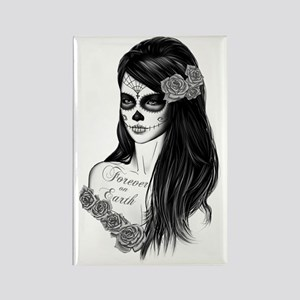 La Catrina - Day of Death b/w Rectangle Magnet