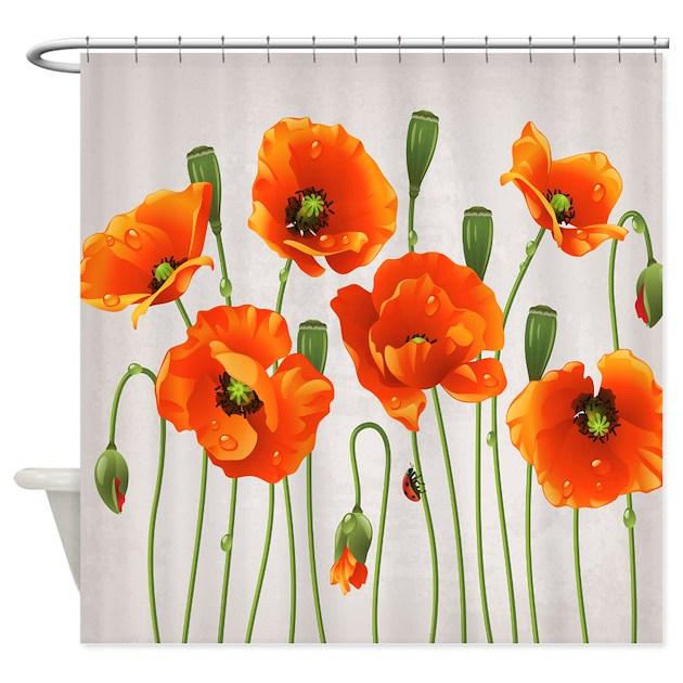 Brilliant Orange California Poppies Shower Curtain by getyergoat
