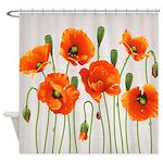 Brilliant Orange California Poppies Shower Curtain