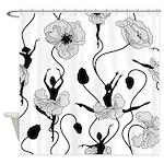 Ballerina Poppies In Black And Whiteshower Curtain