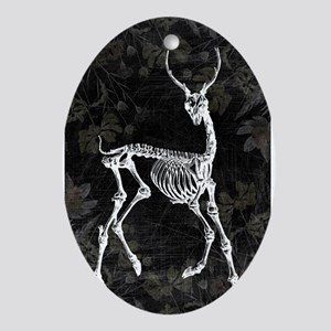Prancing Deer Skeleton Ornament (Oval)