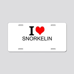 I Love Snorkeling Aluminum License Plate