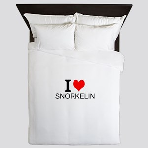 I Love Snorkeling Queen Duvet