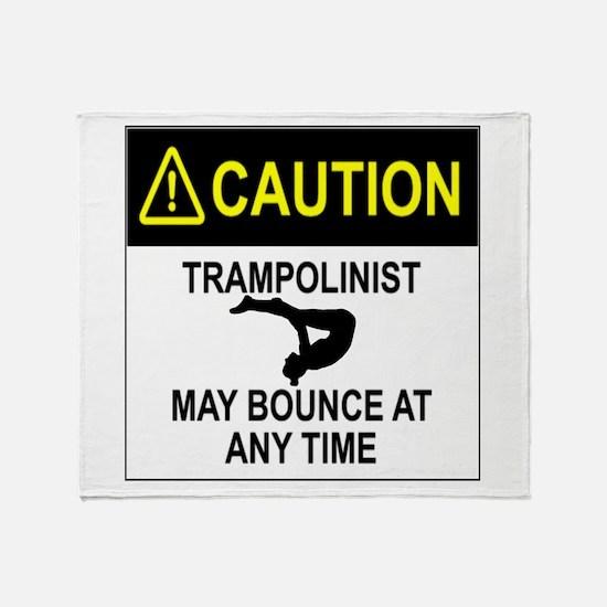 Caution Trampolinist Throw Blanket