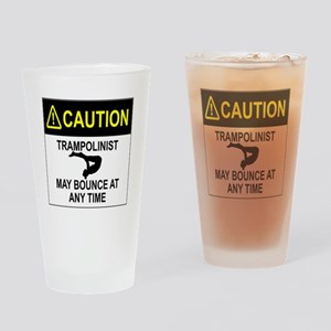 Caution Trampolinist Drinking Glass