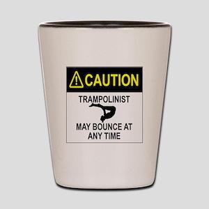 Caution Trampolinist Shot Glass