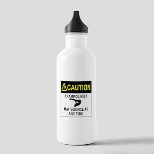 Caution Trampolinist Water Bottle