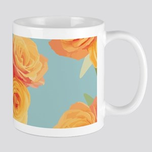 Orange roses on blue Mugs