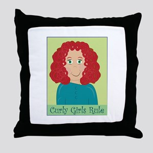 Curly Girls Rule Throw Pillow