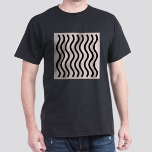Abstract Modern Artistic Black Waves Pink Pastel T
