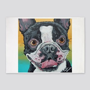 Boston Terrier Smile 5'x7'Area Rug