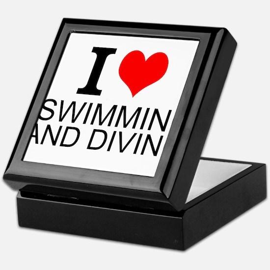 I Love Swimming And Diving Keepsake Box
