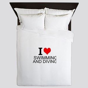 I Love Swimming And Diving Queen Duvet
