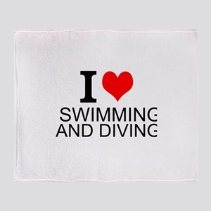 I Love Swimming And Diving Throw Blanket