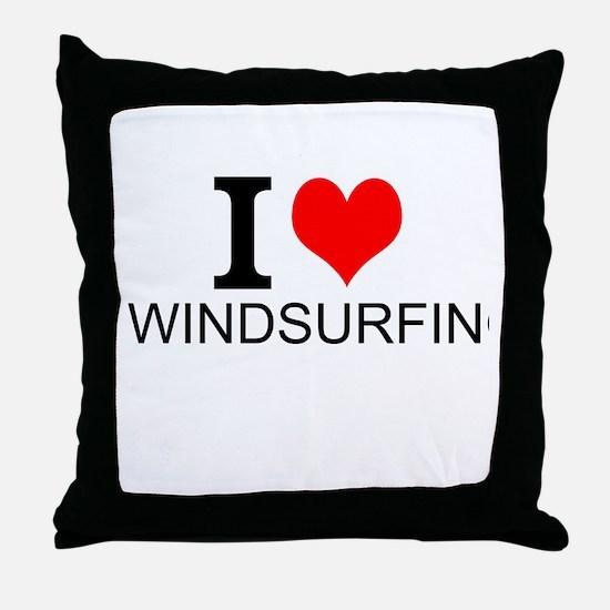 I Love Windsurfing Throw Pillow