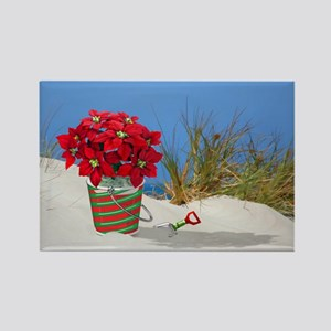 Pointsettia in a Sand Pail Magnets
