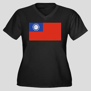 Myanmar Women's Plus Size V-Neck Dark T-Shirt
