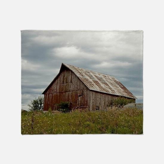 Vintage Iowa Barn  Throw Blanket