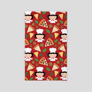 Cute Pizza Chef Girl 3'x5' Area Rug